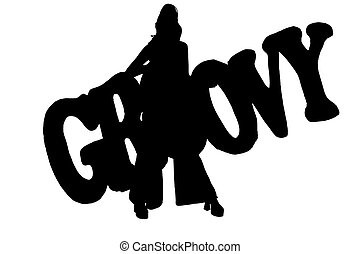 Silhouette Groovy - Silhouette over white with clipping...