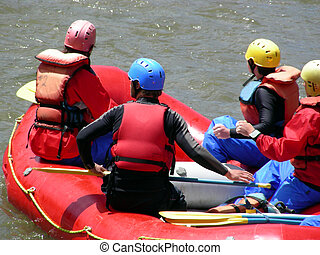 Rafters - Rafting down the Animas River through Durango,...