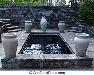 water garden - pond with urns