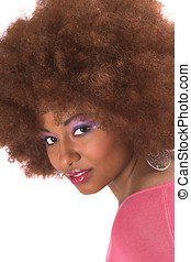 Gorgeous black woman with afro hair - Beautiful black woman...