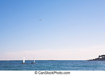 Antibes 149 - The sea and some sailboats in Antibes, France...