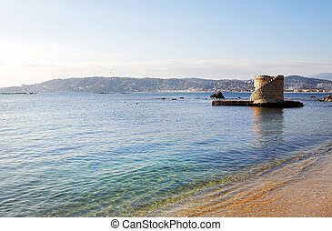 Antibes #215 - Ruins surrounded by water in Antibes, France....