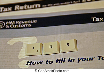 IRS spelt out using keyboard letters on a UK tax return form...