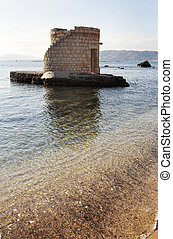 Antibes #21195 - Ruins surrounded by water in Antibes,...