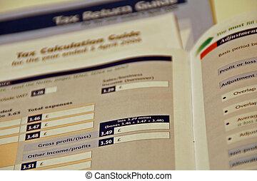 Tax Return Form - Close up of a UK tax return form