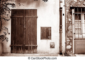 Antibes #36 - Wooden doors and building in Antibes, France -...