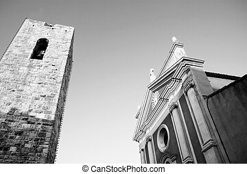 Antibes #43 - Buildings and tower in Antibes, France. Black...