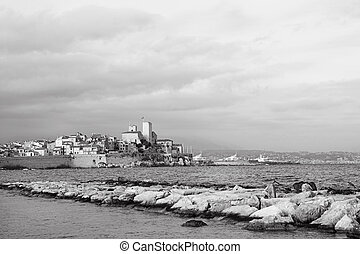 Antibes 83 - A town overlooking the sea in Antibes, France...