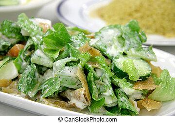 Lebanese salad - Milk curd salad with toasted crispy slices