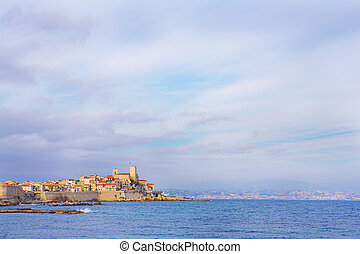 Antibes 91 - A town overlooking the sea in Antibes, France...