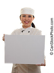 Chef or Cook holding a blank message board or menu Blank,...