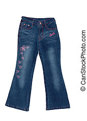 Blue children girl jeans isolated - Childrens clothing blue...