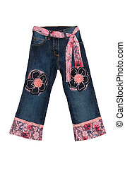 Blue children girl jeans with pink flowers pattern isolated...