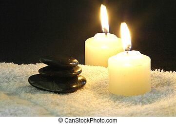 candlelight massage - spa treatment with hot massage rocks...