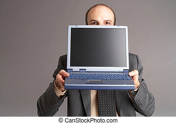 computer - Businessman with laptop