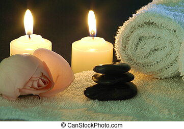spa night at home - candles and spa supplies for a romantic...