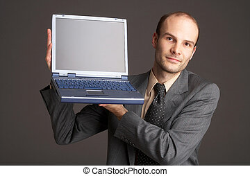 laptop - Businessman with laptop