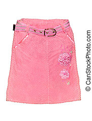 Pink children girl skirt isolated - Childrens clothing pink...