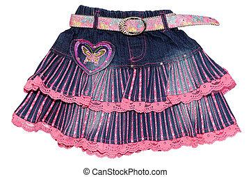 Blue pink children girl jeans mini skirt isolated -...