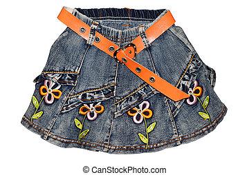 Blue gray children girl jeans mini skirt isolated -...