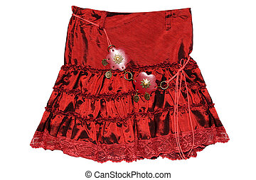 Red children girl skirt isolated - Children\\\'s clothing...