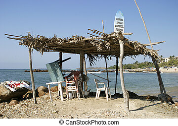 Tropical Surf Shack - A ramshackle beach shack or lean-to in...
