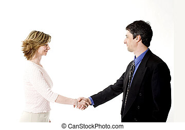 business people shaking hands over white
