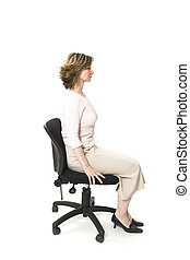 good posture - woman sitting in good posture