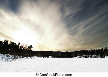 Dramatic Landsacpe - A dramatic landscape on a frozen lake.