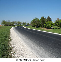 country road - blacktop country road curving through scenic...