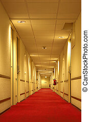 Corridor - Red carpet of the hotel corridor