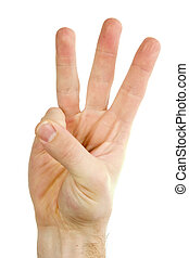 Three Fingers Isolated - Three fingers on a male hand being...