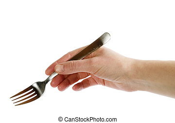 Fork in Hand - A fork being held by a womans hand.