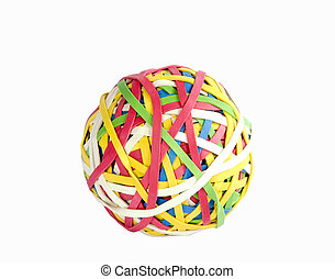 Rubber Band Ball - A ball of rubber bands isolated on white...