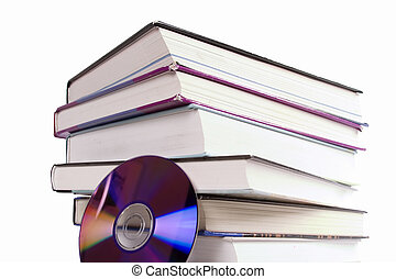 CD Book - A stack of books with a cd. A concept image for...