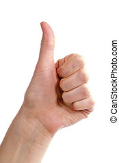 Thumbs Up - An adult female hand holding their thumb in the...