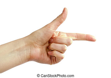 Hand Gun - An adult female hand pointing with the thumb in...