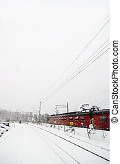 Winter Train Station - A train at Ljan train station, in...