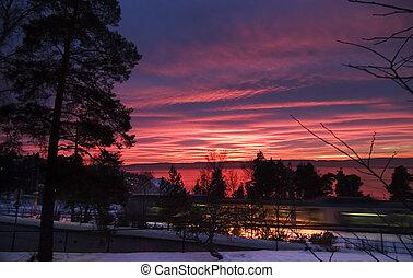 Purple Sunset - Sunset in Oslo Norway