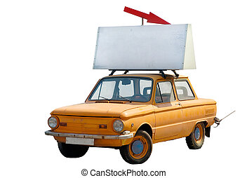 Old orange car with banner on top isolated