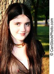 Tween Girl - Beautiful tween girl outside.