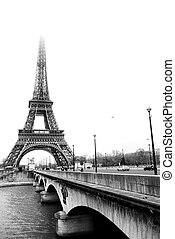 Paris 37 - The Eiffel Tower in Paris, FranceBlack and white,...