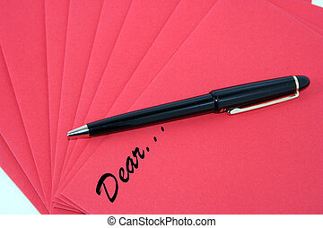 Dear... - Digital photo of red paper with the letters dear
