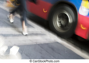 Late for the Bus - An abstract blurred image displaying...