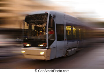 Abstract Tram - A blurred abstract image of a streetcar in...