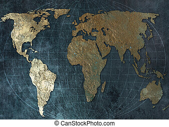 World Map on metal background