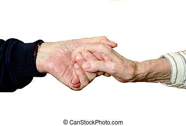 Old Love - True Love shown in two old hands holding each...