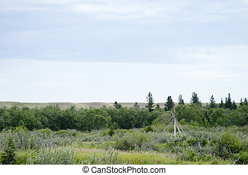 Teepee Frame Landscape - Teepee frame on the saskatchewan...