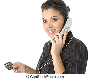 Credit Card - Beautiful young Hispanic business woman with...