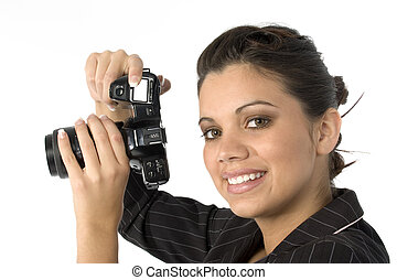 Photographer - Beautiful young Hispanic woman with film...